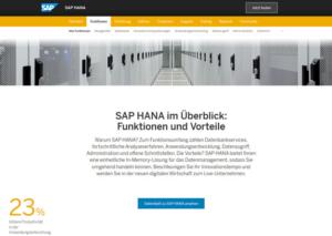 SAP HANA Webseite mit den Funktionsübersicht von HANA