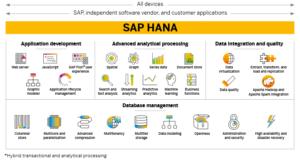 Schematische Darstellung der HANA Technologieplattform und einige mögliche Entwicklungen die hierauf basieren können.
