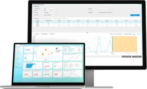 Screenshot der SAP Business One Hauptansicht und einer HANA Analyse